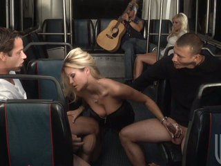 Amazing Blonde Blowjob Bus Groupsex