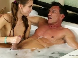Bathroom  Daddy Daughter Handjob Old and Young Pigtail Teen