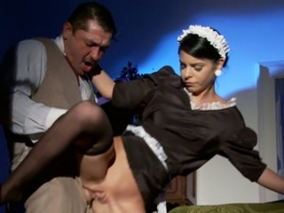 Amazing Brunette Doggystyle Maid Old and Young Shaved Stockings Teen Uniform Vintage
