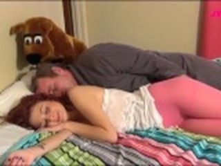 Cute Daddy Daughter Old and Young Sleeping Teen Daddy