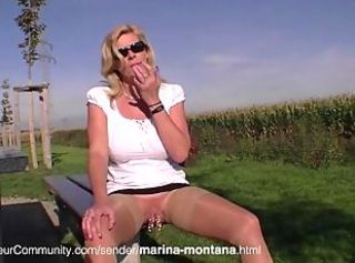 European German Glasses  Outdoor Piercing Public Upskirt German Public
