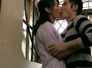 Asian Japanese Kissing  Mom Old and Young Son