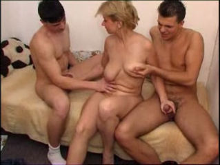 Blonde Handjob Mature Mom Old and Young  Threesome