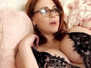 Amazing Big Tits Glasses Lingerie Masturbating