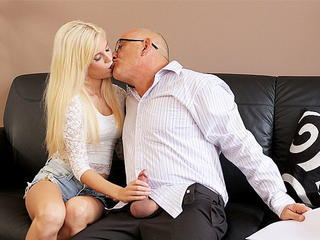 Blonde Daddy Daughter Family Handjob Kissing Old and Young Teen Daddy