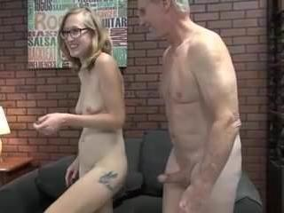 Amateur Daddy Daughter Family Glasses Old and Young Teen Family