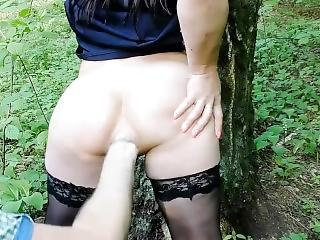 Amateur Anal Ass Fisting Outdoor Stockings Wife Forest