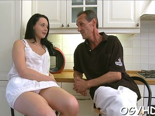 Amazing Daddy Daughter Family Kitchen Old and Young Russian Teen