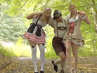 Amazing European German Outdoor Teen Threesome