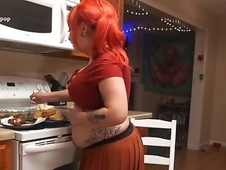 Amateur Chubby Kitchen Redhead Teen