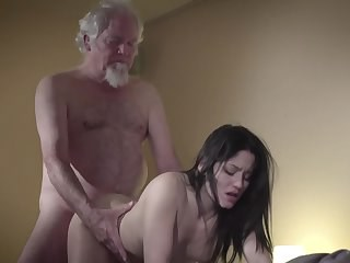 Brunette Daddy Daughter Doggystyle Old and Young Teen