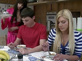 Family Kitchen Sister Teen Threesome
