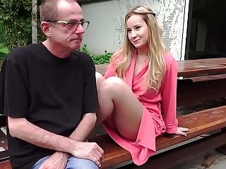 Babe Blonde Cute Daddy Daughter Old and Young Outdoor Teen