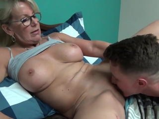 Glasses Licking Mature Mom Old and Young
