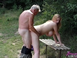 Amazing Big Tits Daddy Daughter Doggystyle Natural Old and Young Outdoor Teen