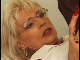 Blonde Glasses Mature Mom Office Vintage