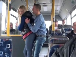 Blonde Bus Public Teen