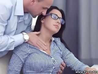 Babe Brunette Cute Glasses Office Pornstar Teen