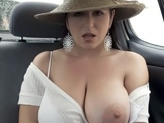 Amazing Big Tits Car  Natural Pornstar Wife