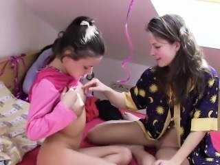 Brunette Cute Lesbian Sister Small Tits Teen