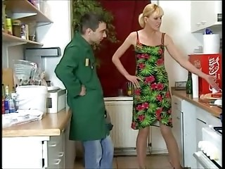 Blonde Kitchen Mature Mom Old and Young