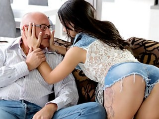Amazing Brunette Daddy Daughter Jeans Old and Young Teen